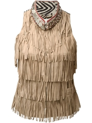 Bazar Deluxe Aztec Collar Fringed Gilet Nude And Neutrals