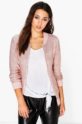 Boohoo Lucy Metallic Knit Bomber Jacket Rose Gold