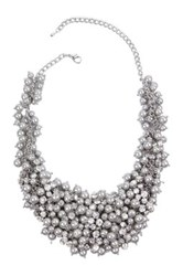 Saachi Grey Crystal Faux Pearl Statement Necklace Metallic
