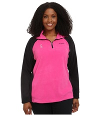 Columbia Plus Size Tested Tough In Pink Fleece Half Zip Pink Ice Black Women's Long Sleeve Pullover