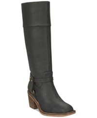 Xoxo Marisa Tall Wide Calf Western Harness Boots Women's Shoes Black