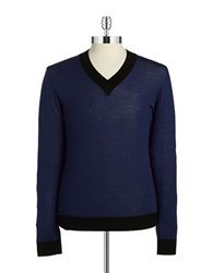 Strellson V Neck Wool Sweater Navy