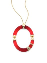 Alexis Bittar Lucite And Swarovski Crystal Oval Pendant Necklace Red