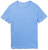 Onia Chad Ma Lange Knitted Linen T Shirt Blue