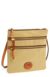 Dooney And Bourke Triple Zip Nylon Crossbody Bag Beige Khaki