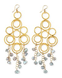 Gray Freshwater Pearl Multi Circle Chandelier Earrings Devon Leigh