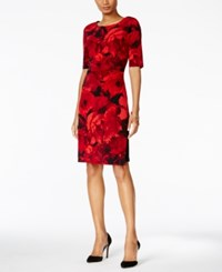 Connected Petite Floral Print Ruched Dress Red