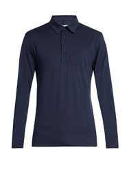 Orlebar Brown Linwood Long Sleeved Wool Polo Shirt Navy