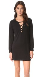 Lanston Lace Up Sweatshirt Dress Black