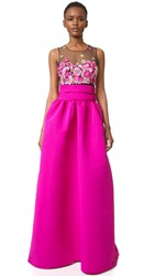Marchesa Embroidered Ball Gown With Pockets Fuchsia