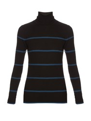 Fendi Striped Roll Neck Wool Sweater Black Multi