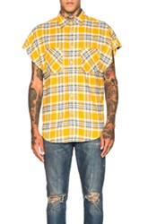 Fear Of God Sleeveless Flannel In Yellow Checkered And Plaid Yellow Checkered And Plaid