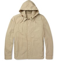 Aspesi Cotton And Linen Blend Hooded Jacket Neutrals
