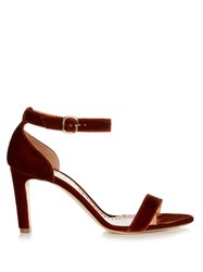 Rupert Sanderson Barrii Velvet Sandals Dark Orange