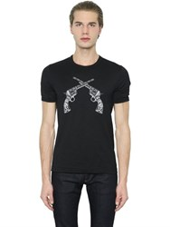 Dolce And Gabbana Guns Patches On Cotton Jersey T Shirt