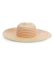 Saks Fifth Avenue Blue Toyo Striped Straw Sun Hat Natural Red