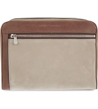 Brunello Cucinelli Suede Leather Washbag Taupe