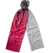Berluti Tie And Dye Cashmere And Silk Blend Scarf Red