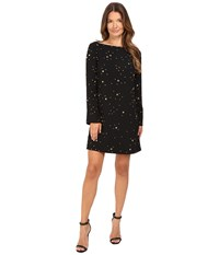 Versace Boat Neck Long Sleeves Dress Black Stars Women's Dress