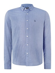 Duck And Cover Harris Long Sleeve Oxford Shirt Light Blue