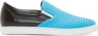 Dsquared Blue And Black Woven Slip On Sandals