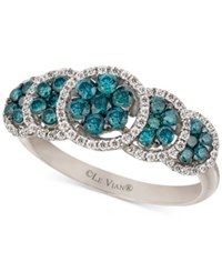Le Vian Five Circle Blue And White Diamond Ring In 14K White Gold 9 10 Ct. T.W.