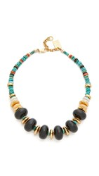 Lizzie Fortunato Cienfuegos Necklace Gold Green Multi
