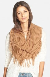Junior Women's Bp. Fringe Trim Infinity Scarf Brown Camel