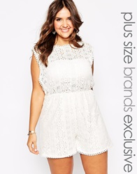 Alice And You Lace Detail Playsuit Cream