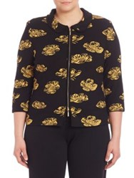 Stizzoli Plus Size Classic Fit Floral Jacket Black Yellow