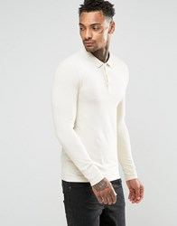 Asos Extreme Muscle Long Sleeve Polo In Off White Off White Cream