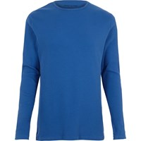 River Island Mens Blue Ribbed Slim Fit Long Sleeve T Shirt