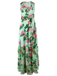 Isolda Long Floral Print Evening Dress Green