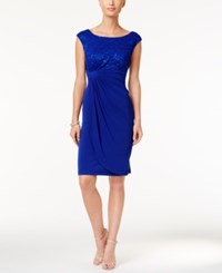Connected Sequin Lace Faux Wrap Dress Cobalt