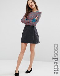 Asos Petite Wrap A Line Skirt In Washed Black Washed Black