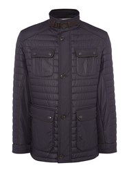 Bugatti Four Pocket Mid Length Quilted Coat Navy
