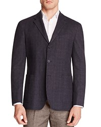 Hardy Amies Plaid Slim Fit Sport Coat Navy