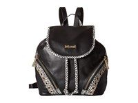 Just Cavalli Pois Printed Leather Black Backpack Bags