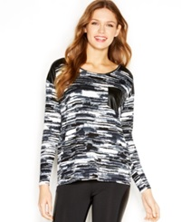 Kensie Long Sleeve Printed Faux Leather Paneled Top Winter White Combo