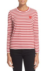 Women's Comme Des Garcons 'Play' Stripe Tee Red White