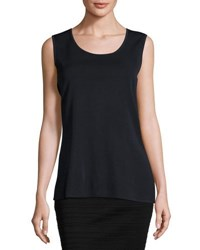 Ming Wang Scoop Neck Knit Long Tank Nav