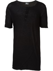 Lost And Found Shortsleeved Henley T Shirt Black