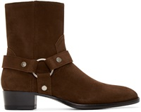 Saint Laurent Brown Harness Wyatt Biker Boots