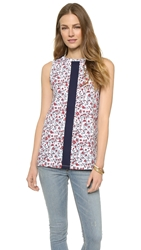 Etre Cecile Ditsy Floral Tape Oversize Tank White