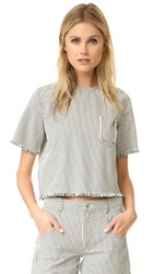 Alexander Wang Frayed Striped Short Sleeve Top Ecru