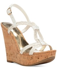 Carlos By Carlos Santana Barby Cork Wedge Sandals Women's Shoes White