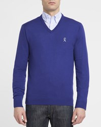 Vicomte A. Royal Blue Houndstooth Elbows Merino V Neck Sweater