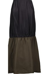 Marni Ruched Silk Blend Faille And Satin Midi Skirt Black
