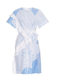 Jil Sander Arabesque Striped Cotton Dress Blue White