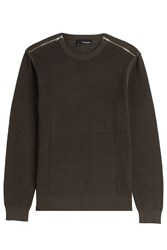 The Kooples Cotton Pullover With Zippers Green